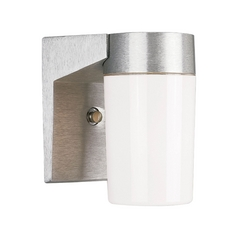 Progress Outdoor Wall Light with White in Satin Aluminum Finish