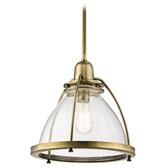 Kichler Lighting Silberne Natural Brass Pendant Light with Bowl / Dome Shade
