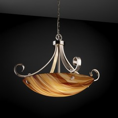 Justice Design Group Scrolls with Finials Family Brushed Nickel Pendant Light