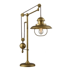 Pulley Table Lamp with Cage Shade - Antique Brass Finish