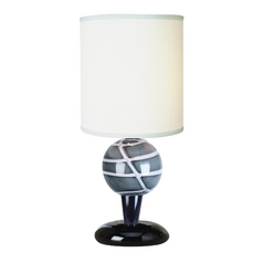 Modern Accent Lamp with White Shade in Ebony Lacquer Finish