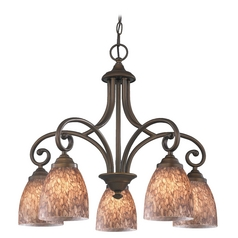 Chandelier with Brown Glass in Bronze Finish