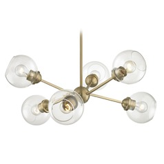 Mid-Century Modern Cluster Chandelier Light Brass