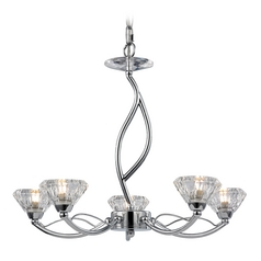 Modern Mini-Chandelier with Clear Glass in Polished Chrome Finish