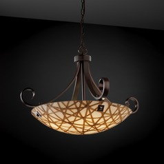 Justice Design Group Scrolls with Finials Family Dark Bronze Pendant Light