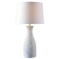 Kenroy Home Hatched White with Blue Wash Table Lamp with Empire Shade