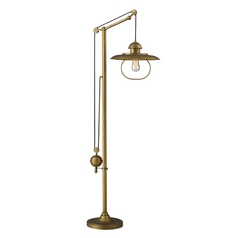 Pulley Floor Lamp with Cage Shade- Antique Brass Finish