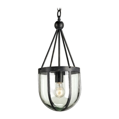 Modern Pendant Light with Clear Glass in French Black Finish