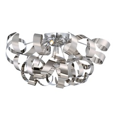 Mid-Century Modern Flushmount Cluster Light Chrome Ribbons by Quoizel Lighting