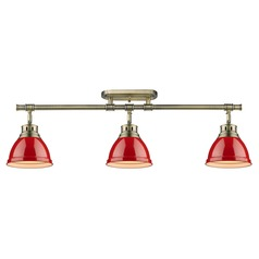 Aged Brass Directional Light Red Shades by Golden Lighting