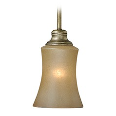 Newbury Venetian Brass Mini-Pendant Light with Bell Shade by Vaxcel Lighting