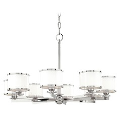 Chandelier with White Glass in Polished Nickel Finish