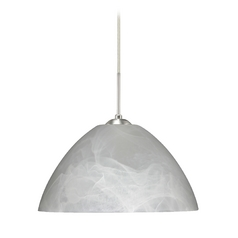 Modern Pendant Light with Grey Glass in Satin Nickel Finish