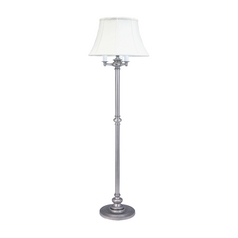 Floor Lamp with White Shades in Pewter Finish