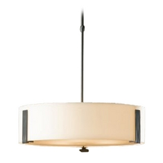 Drum Pendant Light with White Glass in Burnished Steel Finish