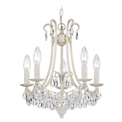 Sterling Lighting 5-Light Crystal Mini Chandelier in Antique Cream