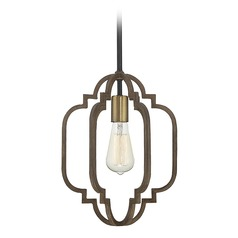 Savoy House Lighting Westwood Barrelwood with Brass Accents Mini-Pendant Light