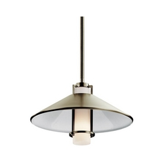 Kichler Lighting Kichler Modern Pendant Light with White Glass in Brushed Nickel Finish 42814NI