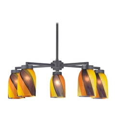 Modern Chandelier with Five Lights and Art Glass in Black Finish