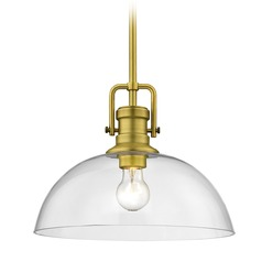 Industrial Brass Pendant Light with Clear Glass 13-Inch Wide