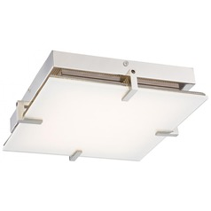 Modern LED Flushmount Light With White Glass