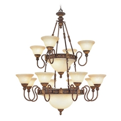Livex Lighting Sovereign Crackled Greek Bronze with Aged Gold Accents Chandeliers with Center Bowl