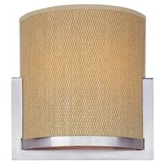 Modern Sconce Wall Light with Brown Tones Shades in Satin Nickel Finish
