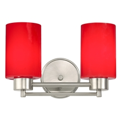 Modern Bathroom Light with Red Glass in Satin Nickel Finish