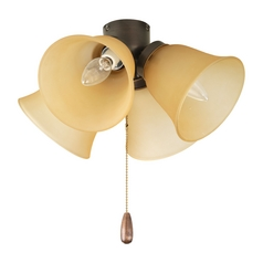 Progress Light Kit with Beige / Cream Glass in Antique Bronze Finish