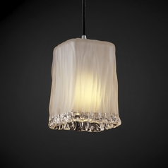 Justice Design Group Veneto Luce Collection Chrome Mini-Pendant Light with Rectangle Shade
