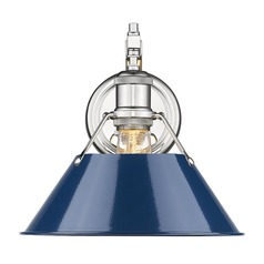 Golden Lighting Orwell Chrome Sconce with Navy Empire Shade