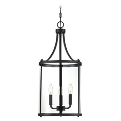 Savoy House Lighting Penrose Black Pendant Light with Cylindrical Shade