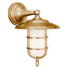 Sconce with White Glass in Aged Brass Finish