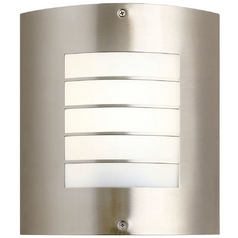 Kichler Outdoor Wall Light with White Glass in Brushed Nickel Finish