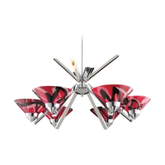 Modern Chandelier with Red Glass in Polished Chrome Finish