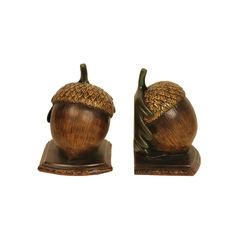 Pair of Acorn Nuts Decorative Bookends