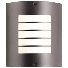 Kichler Modern Outdoor Wall Light with White Glass in Bronze Finish