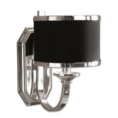 Modern Sconce Wall Light with Black Shade in Silver Plated Finish