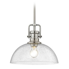 Industrial Satin Nickel Pendant Light Seeded Glass 13-Inch Wide