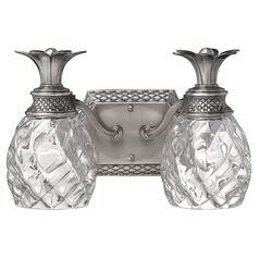 2-Light Polished Antique Nickel Pineapple Bathroom Light with Clear Glass