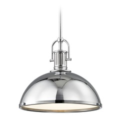 Industrial Pendant Light with Chrome Metal Shade 13.38-Inch Wide