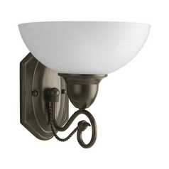 Progress Sconce Wall Light with White Glass in Antique Bronze Finish
