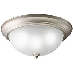 Kichler Flushmount Light with White Glass in Brushed Nickel Finish