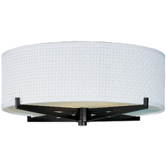 Modern Flushmount Light with White Shades in Oil Rubbed Bronze Finish
