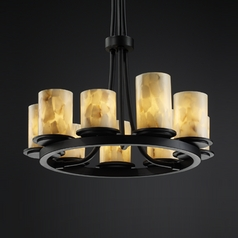 Justice Design Alabaster Rocks! 9-Light Chandelier in Matte Black