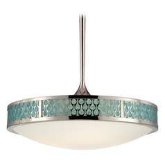 Modern LED Pendant Light with White Glass in Polished Nickel Finish