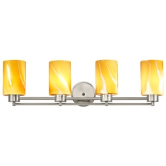Modern Bathroom Light with Butterscotch Art Glass in Satin Nickel Finish