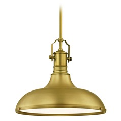 Farmhouse Pendant Light with Satin Brass Metal Shade 15.63-Inch Wide