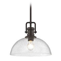 Seeded Glass Pendant Light Bronze 13-Inch Wide