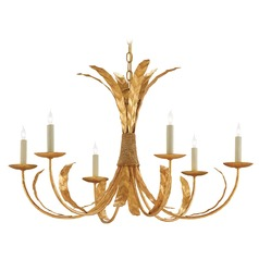 Currey and Company Bunny Williams Grecian Gold Leaf Chandelier